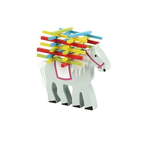 Natureich Pferd Montessori Stapel Spielzeug aus Holz zum Geschicklichkeit Lernen mit Stäbchen Bunt / Natur ab 3 Jahre für die frühe Motorik Entwicklung & Ausbildung Ihres Kindes (Pferd)
