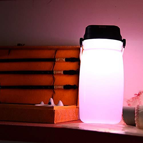 LCLrute Trinkflasche Wasserkocher Tasse Outdoor Sport Solar Panel Wiederaufladbare Outdoor Taschenlampe Amp Multifunktions Wasser Tasse Tasche Perfekt für Outdoor Sport Camping (Rosa)