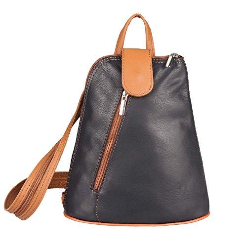 OBC Damen echt Leder Rucksack Schultertasche Stadtrucksack Backpack Handtasche Organizer Daypack Tablet bis ca. 8 Zoll Leder 22x23x12 Schwarz-Cognac -