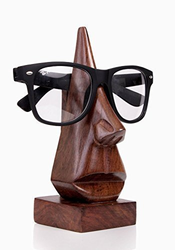 IndiaBigShop Gift for Christmas or Birthday to Your Loved Ones Classic Hand Carved Rosewood Nose-shaped Eyeglass Spectacle/ Eyewear Holder by IndiaBigShop