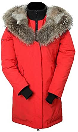 Cheap Women's fur hood down filled coat,RED,SIZE L