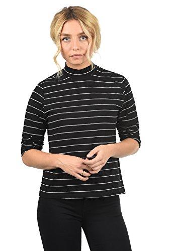 ONLY Anne Damen Longsleeve Langarmshirt Streifen Mit Turtleneck Und 3/4 Arm, Größe:L, Farbe:Black/Stripes Cloud Dancer Pinstripe