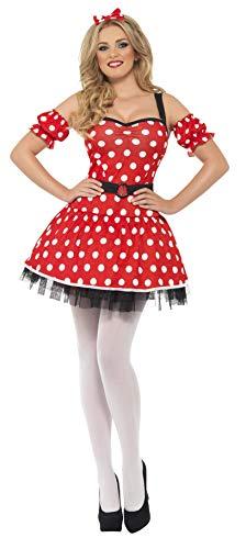 Mäuschen Kostüm - Smiffys, Fever, Damen Madame Maus Kostüm, Kleid, Ärmel und Schleife auf Haarreif, Größe: S, 29609