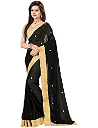 Glory Sarees Women's Georgette With Blouse Piece (Vgblack_Black)