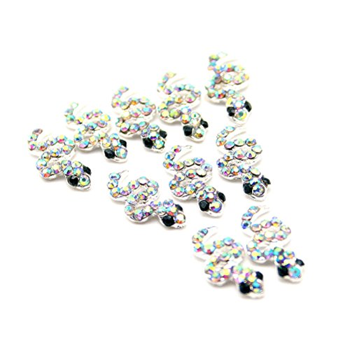 10 pcs Decoration Cristal Nail Art Manucure Forme Serpent 1,4*0,6cm Argent