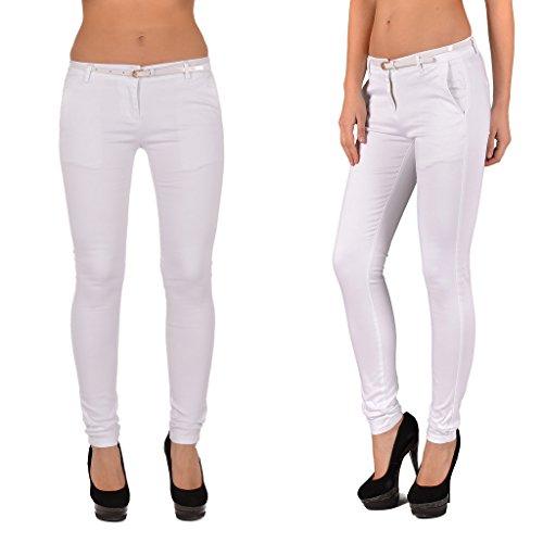 by-tex Pantalon femme Skinny pour femmes pantalon en plusieurs couleurs J187 J187-blanc