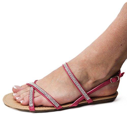 Damen Sandalen Sandaletten ST418 Glitzer Zehentrenner Römer Fuchsia