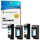 Printing Pleasure 4 Druckerpatronen für HP Color Copier 180 280 Deskjet 1180c 1220c 1280 6120 9300 930c 959c 970cxi Fax 1220 Photosmart 1000 1115 | kompatibel zu HP 45 (C51645AE) & HP 78 (C6578AE)