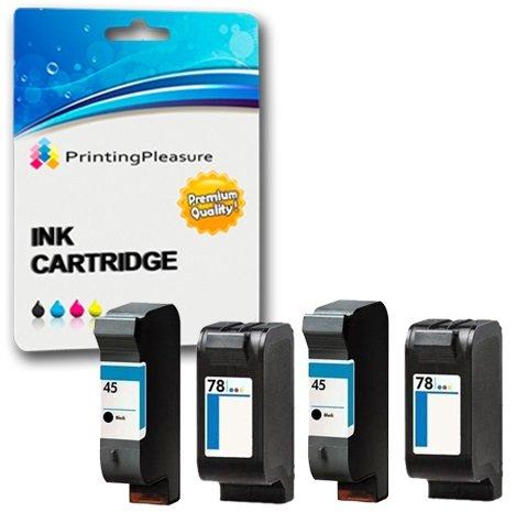 Printing Pleasure 4 Compatibles HP 45 & HP 78 Cartuchos de Tinta para HP Officejet 1170 G55 G85 G95 K60 K80 Photosmart 1000 1100 1115 1215 1218 1315 P1000 P1100 P1100xi - Negro/Color, Alta Capacidad