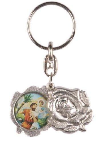 Notre Dame et porte-clés St Christophe. Porte-clés Porte-clés Rose.