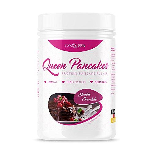 GymQueen PROTEIN PANCAKE MIX | mehr Eiweiß weniger Zucker | schnell und einfach zubereitet | Pfannkuchen Backmischung | Queen Pancakes Double Chocolate |  500g - Ersatz Wasser Pan