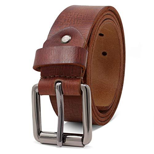 ROYALZ Ledergürtel Herren aus robusten 4mm Büffel-Leder, Vintage Jeans-Herren-Gürtel mit Dornenschließe Voll-Leder 38mm, Farbe:Cognac Braun, Größe:120