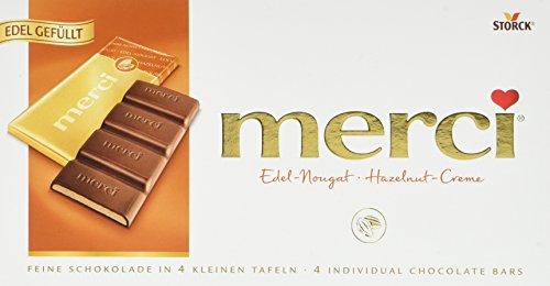 merci Tafelschokolade Edel-Nougat – die perfekte Selbstverwöhnung – 4 kleine, feine Täfelchen – 15er Pack (15 x 112 g)