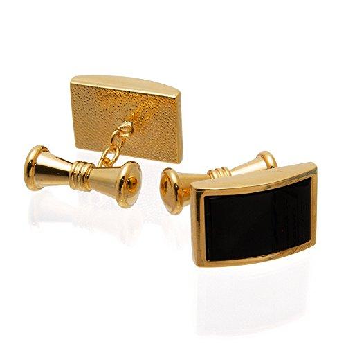 Hochwertige Herren Manschettenknöpfe 100% Edelstahl Vergoldet – gold, schwarz - gold – Geschenk für Männer by VON FLOERKE