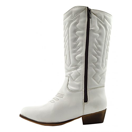Donna A Metà Polpaccio Blocco Tacco A Cavallo Cowboy Biker Boots Zip Up Scarpe White-SB