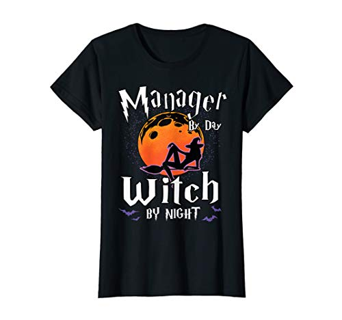 Damen Manager By Day Witch By Night Halloween Supervisor Fun Gifts T-Shirt (Halloween Horror Nights 2019 Ideen)