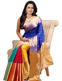 Alzara Creation Women's Cotton Silk Saree With Blouse