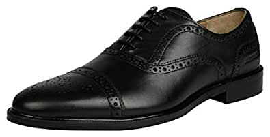 Buttons & Laces Men's Black Leather Brogue Formal Shoes for Office and Business Party | Lace-Ups formal and Rubber Sole | Semi formal wear UK 10