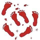 BESTOYARD Rojo gráfico Sangriento Pegatina Salpicadura impresión del pie para la decoración de Disfraces de Halloween calcomanía Etiqueta