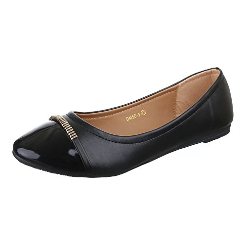 Damen Schuhe, DM5D-9, BALLERINAS ÜBERGRÖßEN MODERNE Schwarz