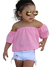 2PCS Bebé De hombro camiseta +Denim corta rotos pantalones ropa Conjunto,Yannerr niño niña primavera Verano vaqueros tejana bordada Jeans manga top mono traje