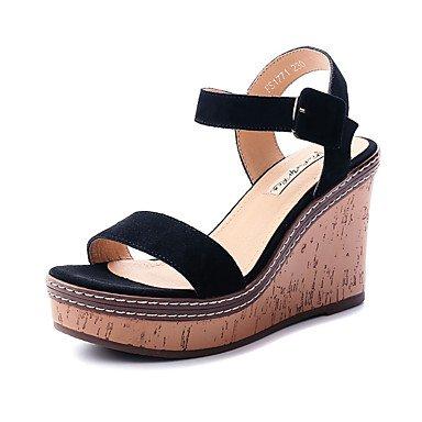 RUGAI-UE Mode d'été occasionnels Chaussures Femmes Sandales talons PU confort,bleu foncé,US8.5 / EU39 / UK6.5 / CN40 Black