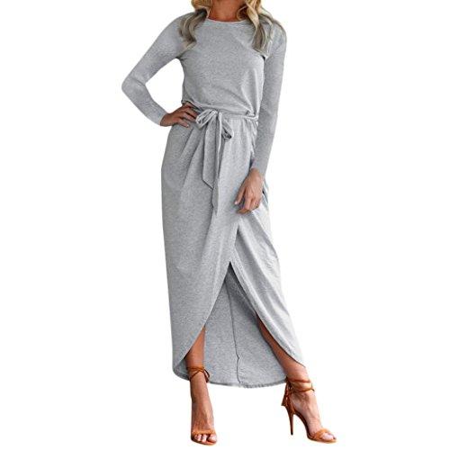 Btruely Kleid Damen Elegant Maxikleid Casual Cocktailkleid Langarm Abendkleid Boho Standkleid Slim Sommerkleid Rundhals Krawatte Taille Kleid -