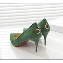 Colore solido raso bocca poco profonda scarpe unico fine con video carriera sottile temperamento punta di ultra-alta con le scarpe ,35, verde 7 centimetri.