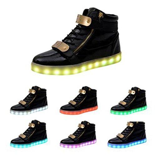 [Présents:petite serviette]JUNGLEST® 7 Couleur Mode Unisexe Homme Femme USB Charge LED Lumière Lumineux Clignotants Chaussures de ma Noir