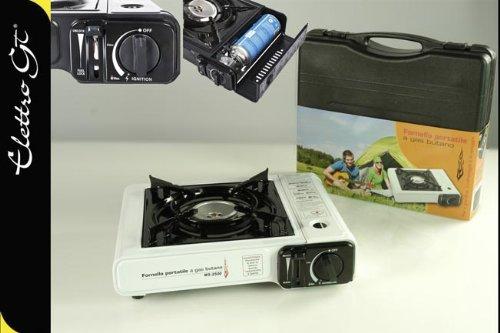 Fornello fornellino con valiggetta viaggio portatile a gas butano cartuccia bianco campeggio gt 796334