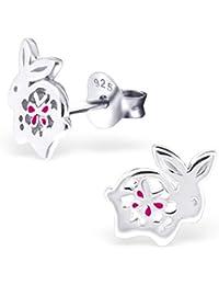 Laimons Pendientes para niña Conejo Brillante Rosa Plata de ley 925