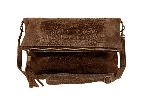 Slingbag Düsseldorf, Poschette giorno donna Grigio grigio Handliche Abendtasche, gut geeignet für den täglichen Gebrauch., beige (Grigio) - Maria Croco II beige beige