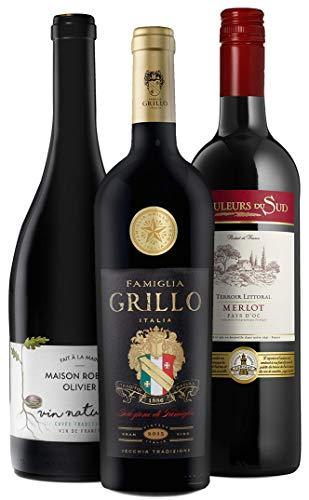 Wine A Porter Merlot Entdecker-Set, 3 trockene Rotweine aus Frankreich & Italien, Probier-Set für...