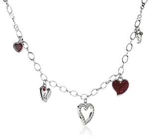 Guess Damen-Halskette Silberfarben Rhodiniert Anhänger mit Weien und Roten Schmucksteinchen 45-50cm UBN81124