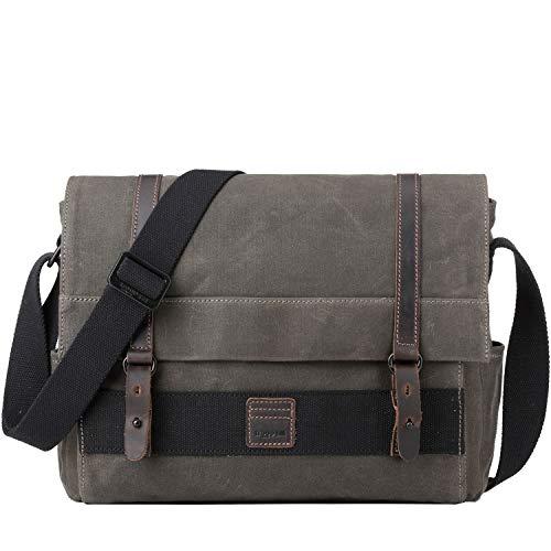 122da145 TRP0476 Troop London Canvas Leather Laptop Messenger Bag, Messenger Bag for  Men and Women,