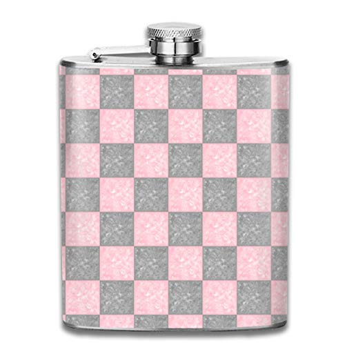 Pink Grau melierte Fliesen Karo Edelstahl Flasche auslaufsicher 198 ml Flachmann für Alkohol Whiskey Wein Flagon Becher Trinkbecher für Reisen Picknick (Karo-wasser-flasche)