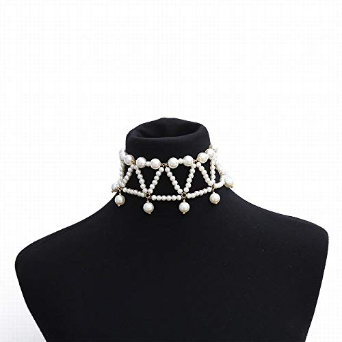Sakuldes Einfache nachgemachte Perle mehrschichtige geometrische Halskettenhalskette des Retro- Temperaments der Frau Elegante (Color : White)