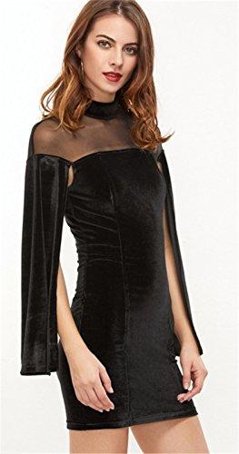Cloak Poncho Cape Style Encolure Haute Transparente Maille Velours Empiècements en Manches Longues Mini Courte Bodycon Fourreau Moulante Ajustée Robe Noir Noir