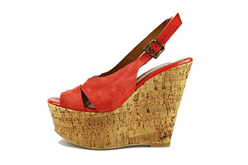 JEANNOT sandali donna corallo camoscio AG433 (38 EU)