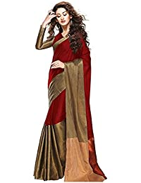 Aaina Red & Gold Cotton Silk Printed Saree With Blouse