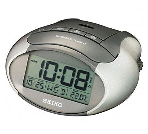 Seiko QHL023A LCD Travel Portable Alarm Clock with Calendar/Thermometer - Metallic Grey