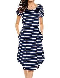 Mujer Vestido Casual Verano 2018,Sonnena Mujer Elástico Cintura Rayas Vestido Largo Manga Corta Cuello-O Vestido de Fiesta Playa Verano…