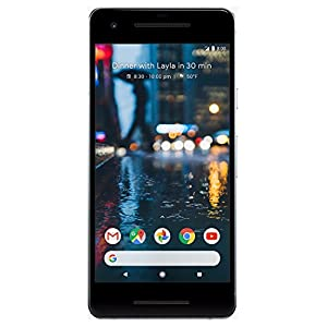 """Pixel 2 Phone (2017) by Google, G011A 128GB, 5"""" inch SIM-free Factory Unlocked Android 4G/LTE Smartphone (Clearly White)"""