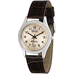 Ravel Men's Classic 3 Hand Day Date Watch on Brown PU Croco Strap Polished Chrome Classic Round Cas