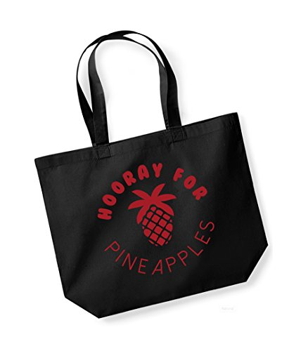 Hooray For Pineapples - Large Canvas Fun Slogan Tote Bag Black/Red