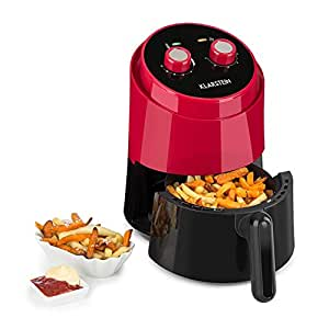Klarstein Well Air Fry • Heißluftfritteuse • Fritteuse • fett-frei Frittieren • Backen • Grillen • Rösten • 1230 Watt • 1,5L Füllkapazität • Überhitzungsschutz • analoges Bedienfeld • rot