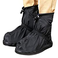 AidShunn Waterproof Shoe Covers Reusable Rain Boots Black Anti-Slip Cycling Overshoes