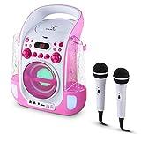 Auna Kara Liquida • Pink Echo Edition • Impianto Karaoke Portatile • Kit Karaoke per Bambini • Effetto Eco • 2 x Microfoni • Lettore CD+G • Ingresso USB per MP3 • Uscita Video/Audio • Color Rosa