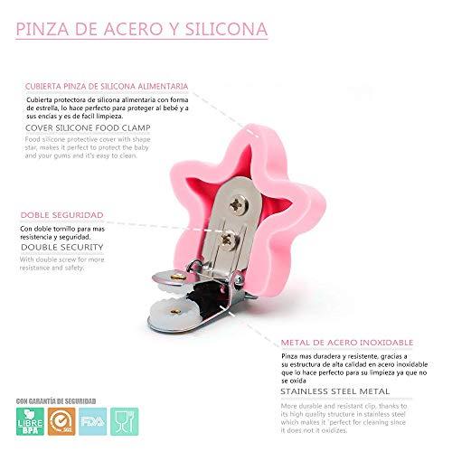 RUBY Chupetero Personalizado para Beb/é con Nombre Bola Silicona Antibacteriana con Pinza Redonda de Silicona Beige