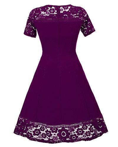 Damen Kurzarm Elegant Spitzenkleid Cocktailkleid Ballkleid Partykleid hochzeitskleid Festlich A-Linie Knielang Violett